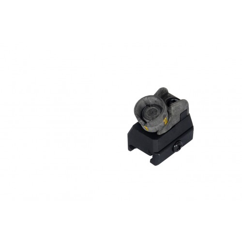 Dboys Airsoft 614 Iron Rear Sight w/ Rail System Attachment - BLACK