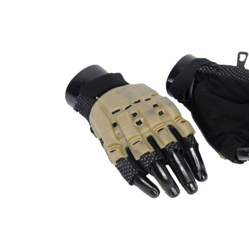 AMA Tactical Airsoft Half Finger XL Armored Gloves - TAN