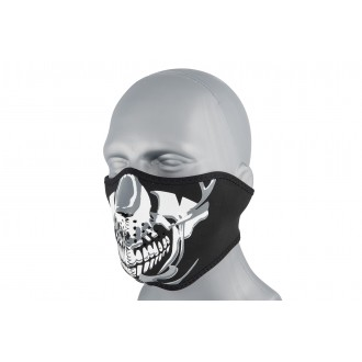 Zan Headgear Airsoft Neoprene Chrome Skull Half Mask - BLACK / SILVER