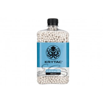 Krytac Airsoft 0.28g Polished 6mm BBs Bottle - 4000rds - WHITE