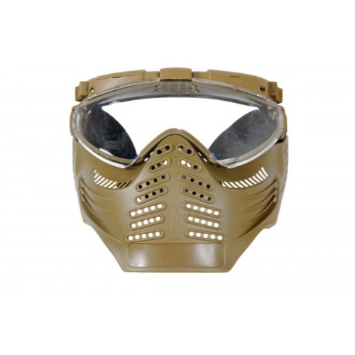 UK Arms Airsoft Tactical Version A Face Mask w/ Light and Fan - TAN