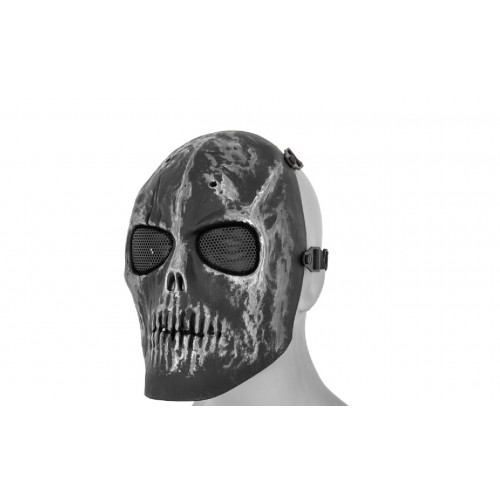 AMA Full Face Scarred Skull Mask - SILVER/BLACK