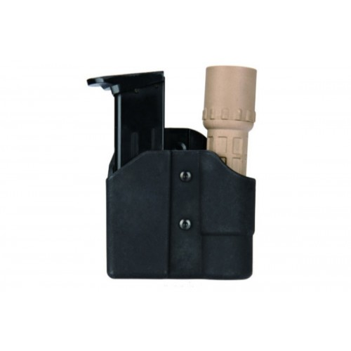 AMA Tactical ABS Polymer Pistol Mag and Flashlight Carrier - BLACK