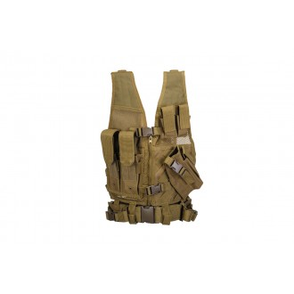 Doorbuster: Lancer Tactical Airsoft Cross Draw Vest Youth Size w/ Holster - KHAKI