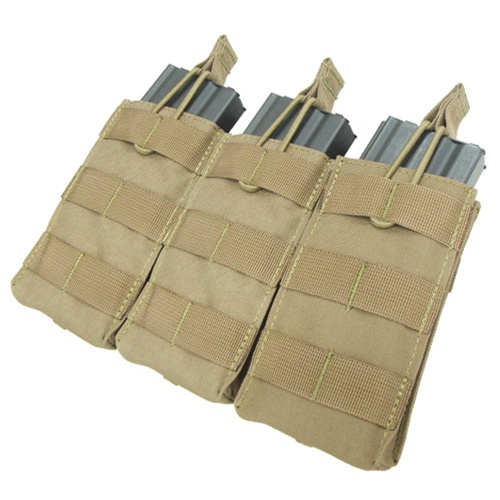 Condor Outdoor Tactical MOLLE Open-Top Triple M4 Magazine Pouch - TAN