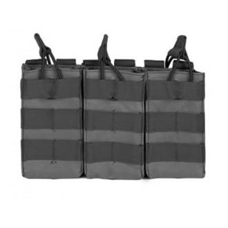 VISM MOLLE Triple M4/M16 Rifle Mag Pouch w/ Retention Straps - BLACK